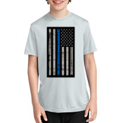 Youth Thin Blue Line Flag Performance Tee - % of proceeds will benefit Backstoppers