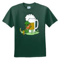 LEPRECHAUN LEANING ON A GIANT BEER MUG - GILDAN DRYBLEND T-SHIRT Thumbnail