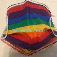 FACEMASK - NON-MEDICAL HOMEMADE MASK - 2-PLY CLOTH  - RAINBOW STRIPE Thumbnail