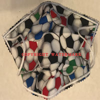YOUTH FACE MASK - NON-MEDICAL GRADE MASK - HOMEMADE - 2PLY CLOTH - WASHABLE - MADE IN USA - SOCCER BALLS Thumbnail
