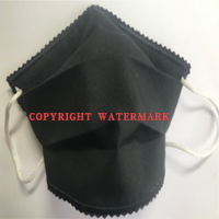 FACE MASK - NON-MEDICAL GRADE HOMEMADE MASK - 2PLY CLOTH WASHABLE - MADE IN USA - PLAIN - BLACK Thumbnail