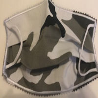 YOUTH FACEMASK - NON-MEDICAL HOMEMADE MASK - CAMOUFLAGE GRAY BLACK WHITE Thumbnail