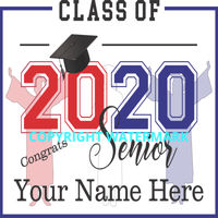 Graduation Sign - Class of 2020 Seniors with Silhouettes red white blue Thumbnail