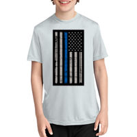 Youth Thin Blue Line Flag Performance Tee - % of proceeds will benefit Backstoppers Thumbnail