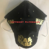 FACEMASK - NON-MEDICAL HOMEMADE MASK -2-PLY CLOTH - WASHABLE- STAR WARS GOLD LETTERS (Limited Edition) Thumbnail