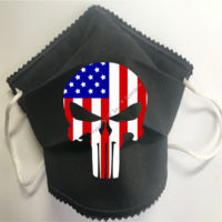 FACEMASK - NON-MEDICAL HOMEMADE MASK -2-PLY CLOTH - WASHABLE- BLACK Punisher with American Flag Thumbnail