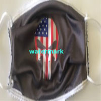 FACEMASK - NON-MEDICAL HOMEMADE MASK -2-PLY CLOTH - WASHABLE- Punisher with American Flag Thumbnail
