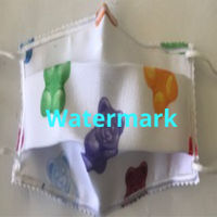 FACEMASK - NON-MEDICAL HOMEMADE MASK -2-PLY CLOTH - WASHABLE- GUMMY BEARS  Thumbnail